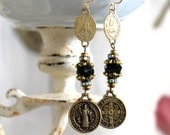 Assemblage Earrings, St. Benedict, Swarovski, Catholic, Devotional, religious spiritual jewelry antique, vintage black brass