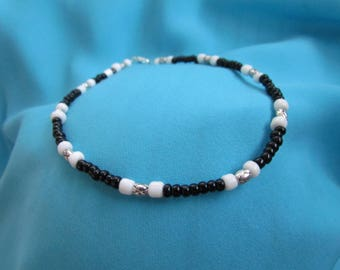 Black, White and Silver Anklet - Glass and Lead Free Pewter