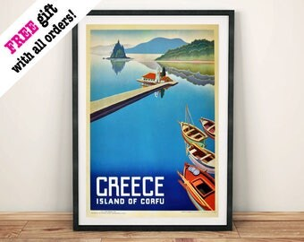 CORFU TOURISM POSTER: Vintage Greek Island Travel Advert Art Print