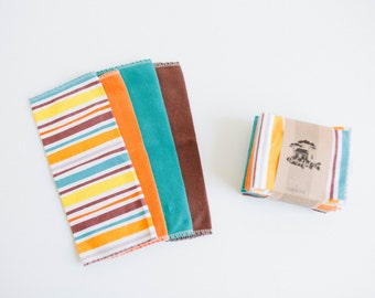 "Unpaper Towels Cloth Napkins 12 Flannel Tissues  - Size  10"" x 12""  - 1 PLY -  Fiesta Mix"