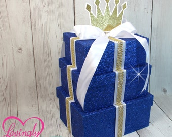Centerpiece - Large 3 Tier Prince Centerpiece in Royal Blue Fine Glitter, White with Glitter Gold Crown - Baby Shower Birthday Mat Mitzvah