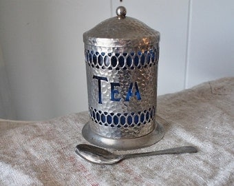 Vintage Tea Tin with Spoon - Hammered Metal - Loose Tea Container - Shabby Chic Kitchen Decor