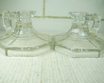 Vtg crystal candleholders with finger holds
