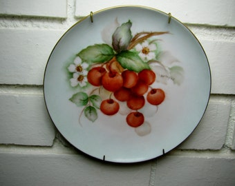 Vtg 6.5'' hand painted cherries on china plate