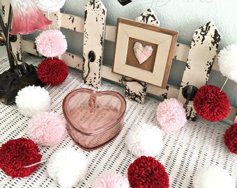 Valentine Pom Pom Garland - Red - Pink - White - Bowl Fillers - Party - Decor - Engagement - Celebration - Wedding - Accents 8 Ft.