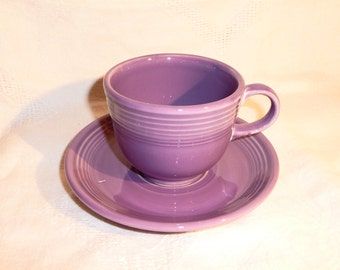 Lilac Fiesta Cup and Saucer Fiestaware Homer Laughlin Purple Cup and Saucer on Etsy by FUNNYFARMS