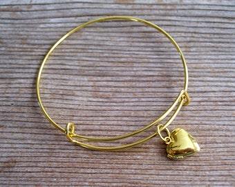 Gold Locket Bracelet, Locket Bangle Bracelet, Gold Heart Locket Charm, Heart Mini Locket, Layering Bangle, Stackable Bangle
