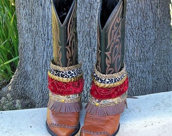 Boot wraps, boot accessories, boot cuffs, boot bling, cowgirl boot straps, Free People style boot  cuffs. Boot belts,  spats, gypsy boots,