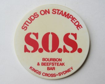 Vintage S.O.S. Studs on Stampede Kings Cross Sydney Red Light District Souvenir Button Pin Pinback