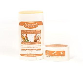 SUMMER SALE - Natural Deodorant, Summer Fields -  Aluminum Free Deodorant - Wildflowers, Baked Earth, Sweet Oak, Vetiver