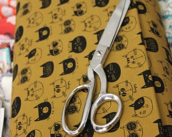 Japanese Kokka Echino Fabric - NONO Ecole Cat (brown)