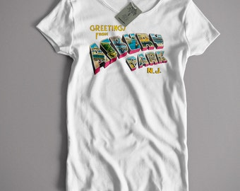 As Used By Bruce Springsteen T Shirt - Asbury Park Postcard - Full Colour Lady Fit