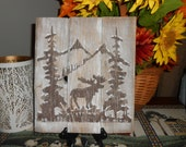 "Moose in Snow Covered Forest Painted on Reclaimed, Rustic Wood - 12"" x 10"" - Christmas Gift Idea"