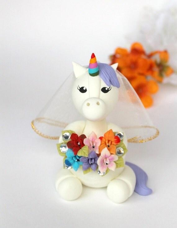 Unicorn and Robot wedding cake topper custom bride and groom