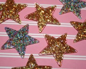 7 x 40mm Glittery Sparkle Star Set - Cabochons, Flatbacks, Kawaii, Decoden