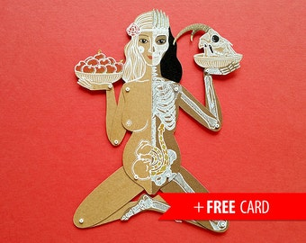 Life and Death articulated paper doll handmade greeting card whimsical puppet unique unusual gift whimsical present skeleton anatomic skull