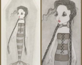 Original art Wednesday Addams mermaid lowbrow fantasy art