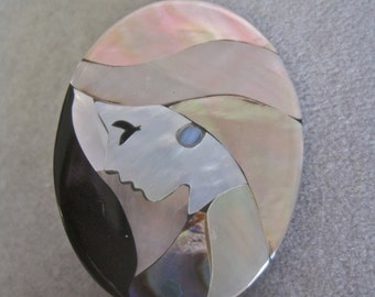 Woman Brooch Vintage Philippines Filipinas Shell Brooch Mother of Pearl Abalone Figural Mosaic 80s Young Girl Hand Crafted Artisan