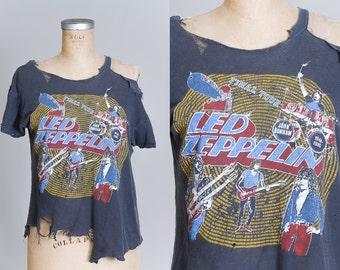 70s Led Zeppelin Destroyed Grey Cotton Final Tour Rock T Shirt