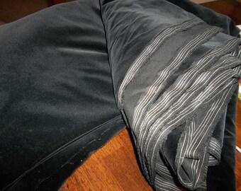 """5.5 Yards...40"""" Wide Antique French Velvet Fabric...New Old Stock...Black Velvet"""