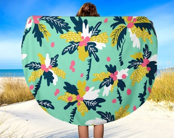 Round Beach Towel, Boho Chic Palm Trees, Beach Blanket, Yoga Blanket, 60""