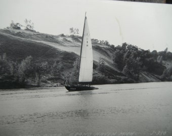 Vintage RPPC - Real Photo Postcard - Sailboat on River - Grand Haven MI