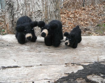 Handmade Needle Felted Black Bear Family - WV Black Bears