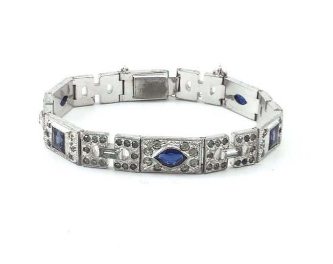 Antique Edwardian Bracelet. Art Deco Sapphire Glass and Pave Rhinestone Silver tone Bracelet. Glass Bracelet. Pave Bracelet.