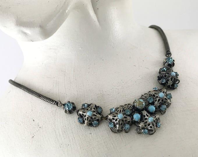 Antique Vintage Art Deco Bohemian Czech Turquoise Blue Glass Necklace, Czech Filigree Necklace with Rhinestones. Art Deco Necklace.