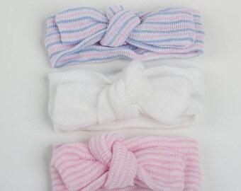 GET 3!  baby turban, newborn turban, baby turban headband, newborn turban headband, turban headwrap, headband bows, headband set