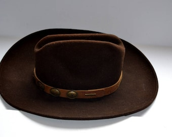 Vintage Stetson VITA Felt Beird authentic brown Cowboy hat gift Spring Fashion felt men hat size Large Fathers day ship from Colorado, USA