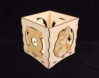 Green Lantern Candle Holder-Unfinished Wooden Candle Lantern-engravable candle box-Superhero gift-Green Lantern wooden candle lantern