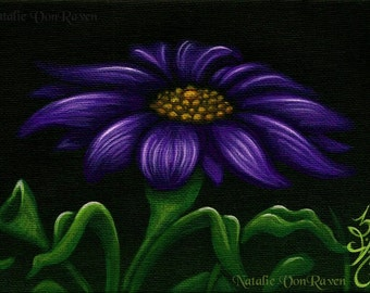 ORIGINAL PAINTING Purple Blue Daisy Flower Garden Petal Blossom Leaf Nature Dark Still Life Art Acrylic Home Decor Natalie VonRaven