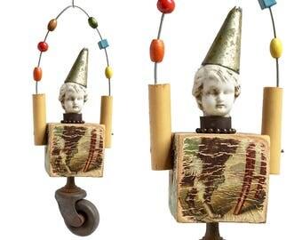 Juggling Clown ornament,  mixed media assemblage art doll, original altered art doll head ornamentornament by Elizabeth Rosen