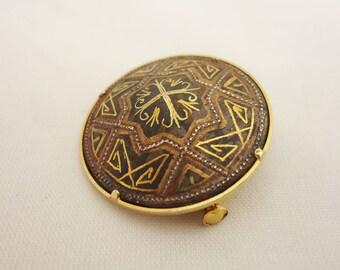 Vintage Round Toledo Damascene Brooch, Damascene Pin