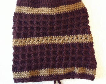 Maroon & Brown Waffle Stitch Slouch Hat