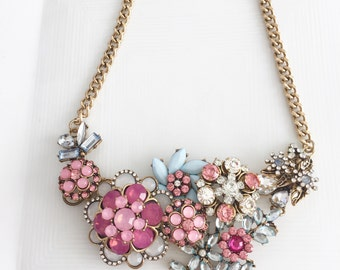 Garden Party Statement Bib Necklace, Vintage Brooch Necklace, Gold Brooch Necklace, Floral Statement Necklace, Whimsical Jewelry