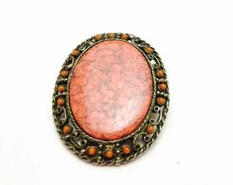 Art Deco Brooch, Vintage Pink Oval Stone, Antique Design, Clearance Sale, Item No. B175