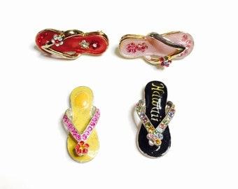 Lot of Hawaian sandals BROOCH/Pendant, Vintage Enamel Gold and silver Tone, Flower Rhinestones,  Item No. B680