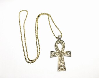 Vintage Egyptian Pendant/Necklace Antique Gold Tone Ahnk, Clearance Sale, Item No. B448