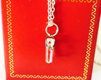 Vintage Clear Quartz Pendant/Necklace, Silver, Clearance Sale, Item No. S293