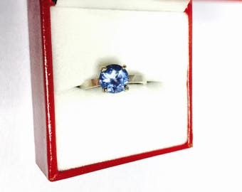 Cocktail Ring Size 6, Vintage Solitaire, Blue Cz, Round Stone, Clearance SALE, Item No. S392