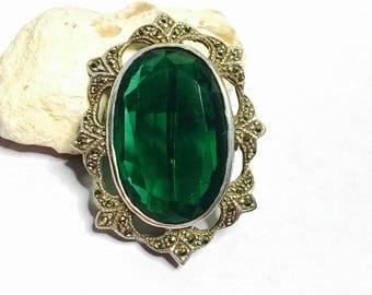 Art Deco BROOCH, marcasite, large Emerald green rhinestone, Antique design Clearance Sale, Item No. S520
