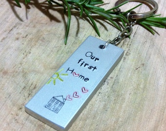 Our first Home Personalized quote ~ couples gift keyring ~ super chunky key chain personalized keyring gift