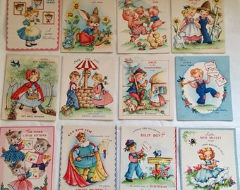Vintage 1940s 50s Nursery Rhyme Assorted Children's Greeting Cards Set of 13