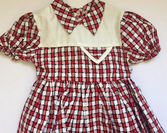Vintage 1940s 1950s Infant Girls' Red White Plaid Dress 6-12 Months