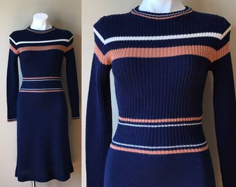 Vintage Sweater A Line Long Sleeved Ribbed Striped Dress Navy Blue Tan and Off White