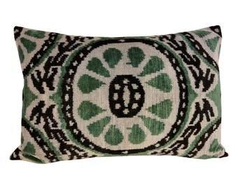 Silk Velvet Ikat Pillow Cover Lp324, Bohemian pillow, Velvet Ikat Pillow, Velvet Pillow