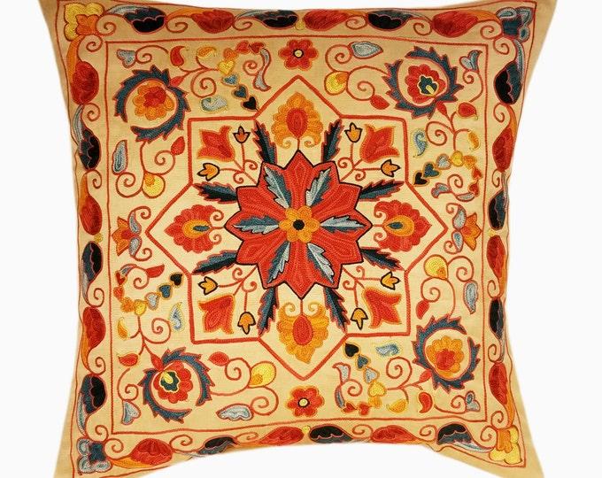 Suzani Pillow, Suzani Silk Pillow Cover SP7-19, Uzbek Suzani, Suzani, Decorative pillows, Accent pillows, Designer Pillows, Throw Pillows
