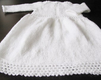 knit baby snow white dress, christening, baptism dress, elegant baby girl dress 6 months MADE TO ORDER